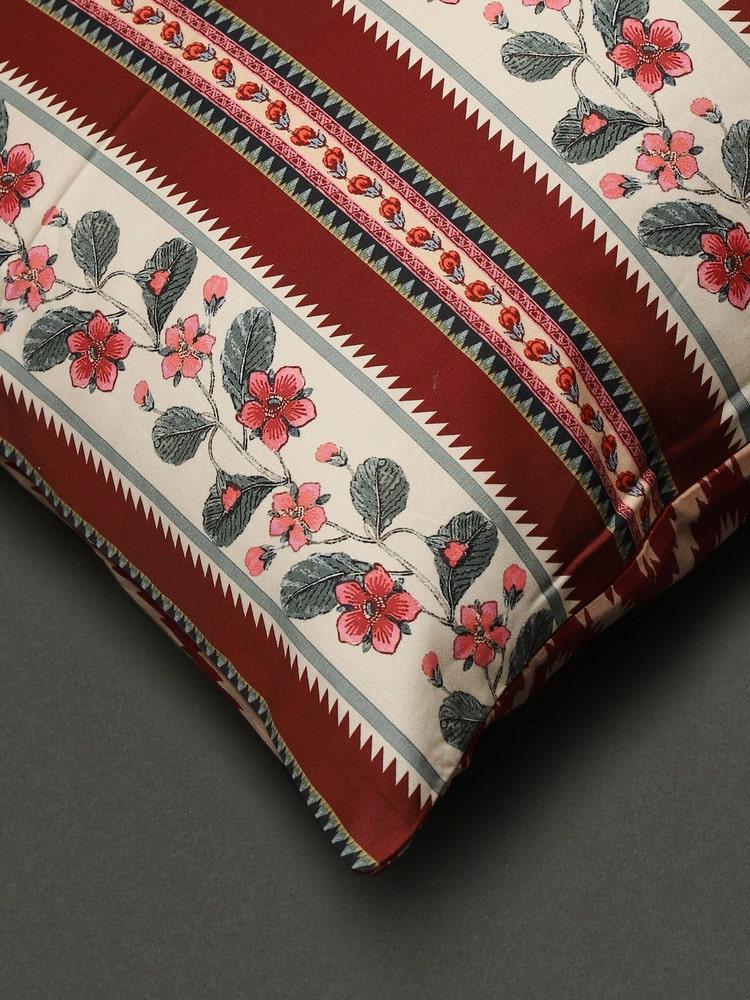 Ecru & Red Flora Pillow Sham