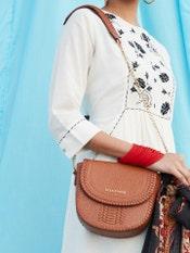 Tan Brown Embossed Leather Sling Bag