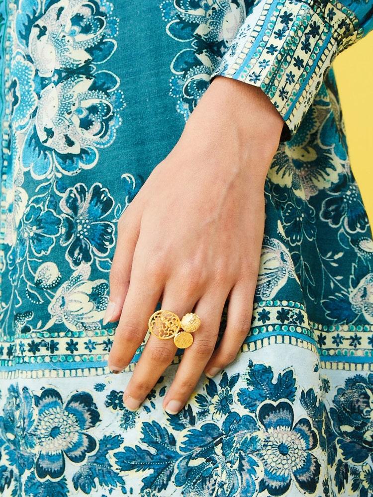 RITU KUMAR by LATIQUE Golden Mando Adjustable Ring