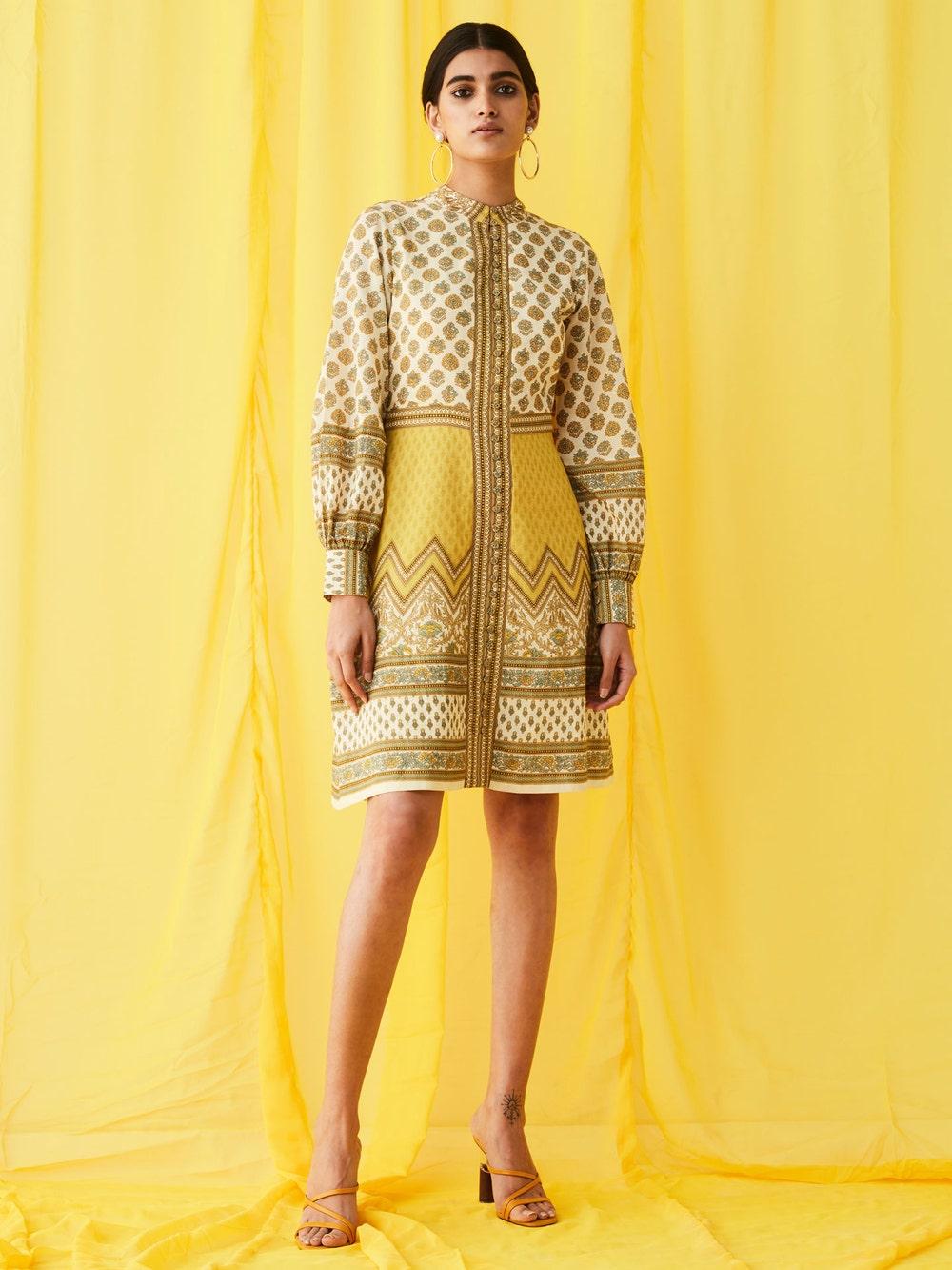 Ecru & Yellow Printed Dress