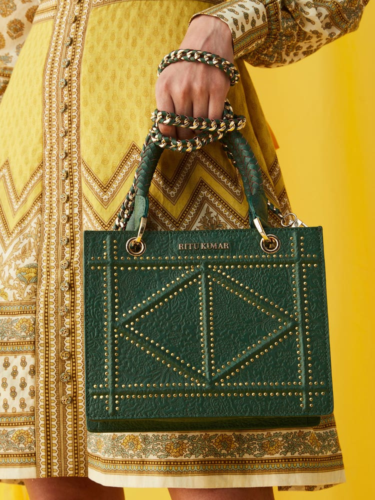 Emerald Green Leather City Bag