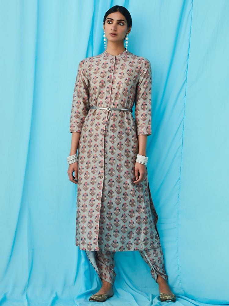 Grey Printed Dhoti Salwar