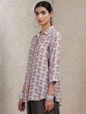Grey Floral Print Crepe Shirt