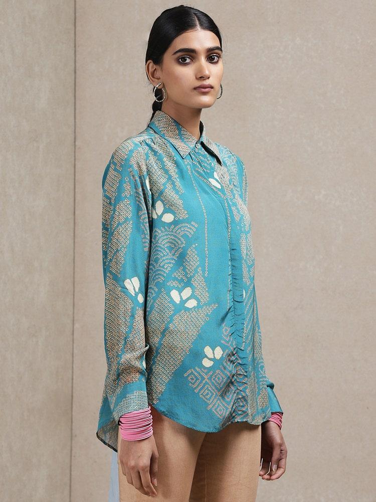 Blue Geometric Print Shirt