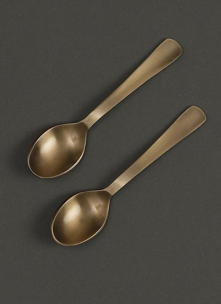 Antique Brass Kansa Spoon (Set of 2)