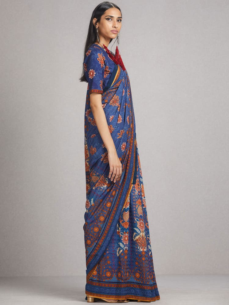 Blue Floral Printed Saree