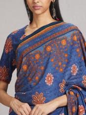 Blue Floral Printed Saree