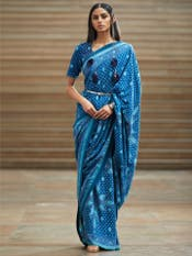 Blue Geometric Print Saree