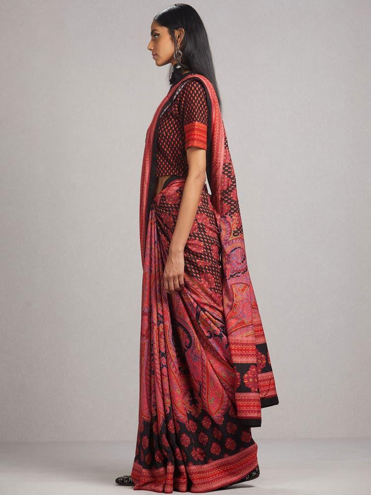 Black Temple Print Saree