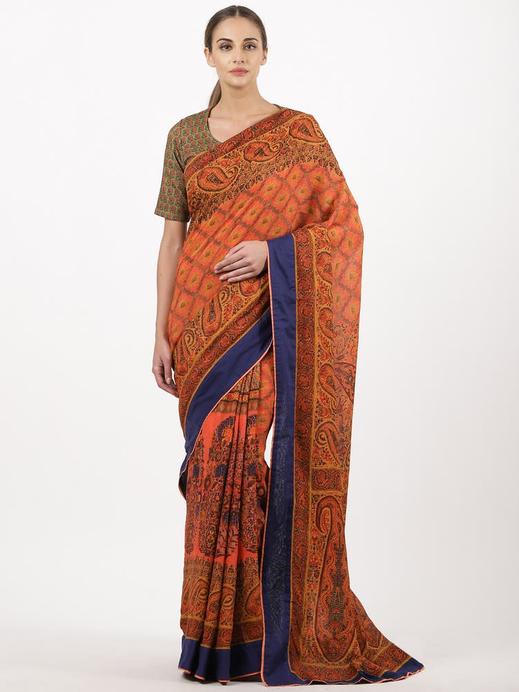 Peach & Black Printed Saree