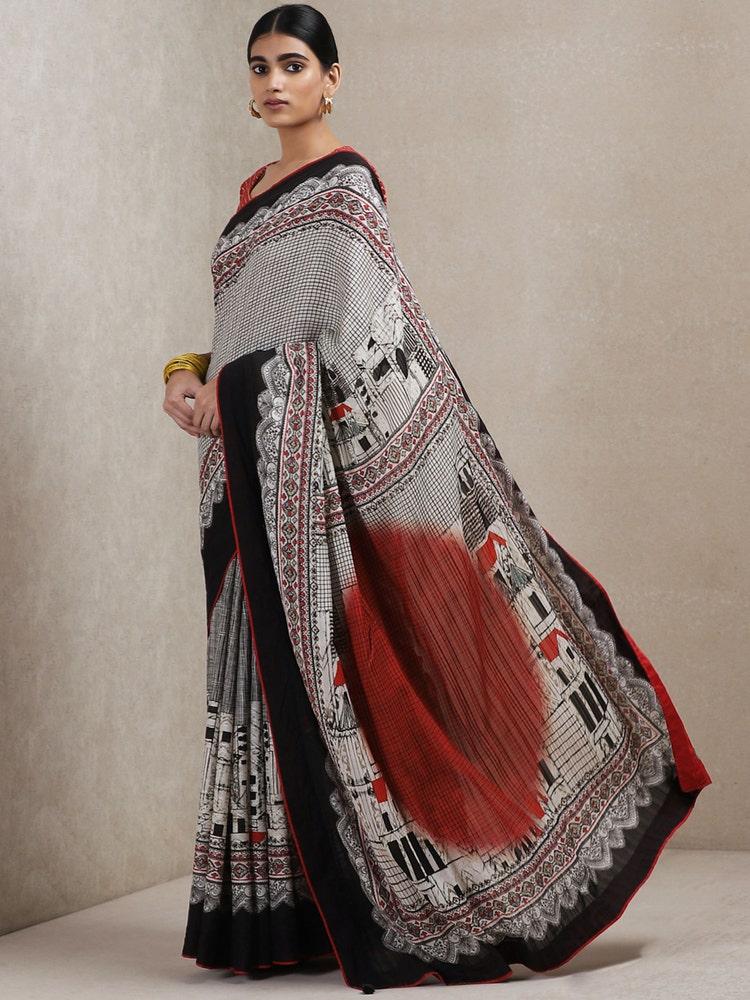 Black and Red Geometric Print Saree