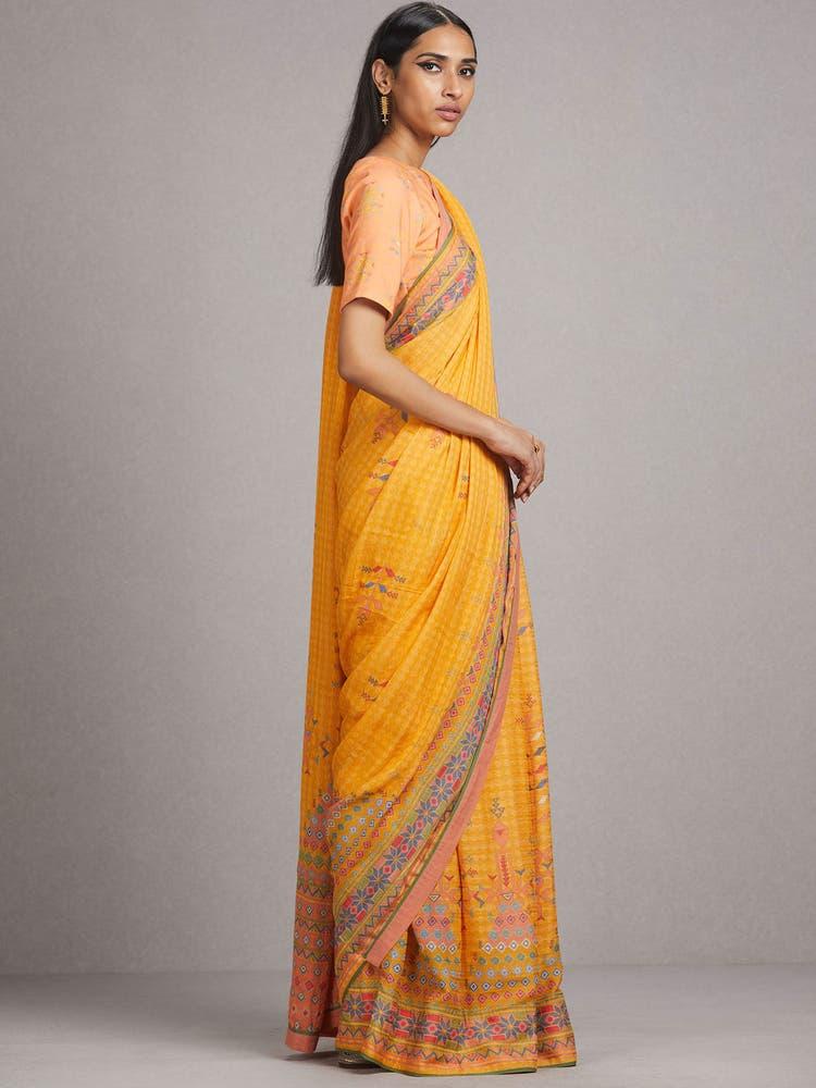Yellow Abstract Print Saree