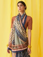 Red Geometric Print Saree Blouse