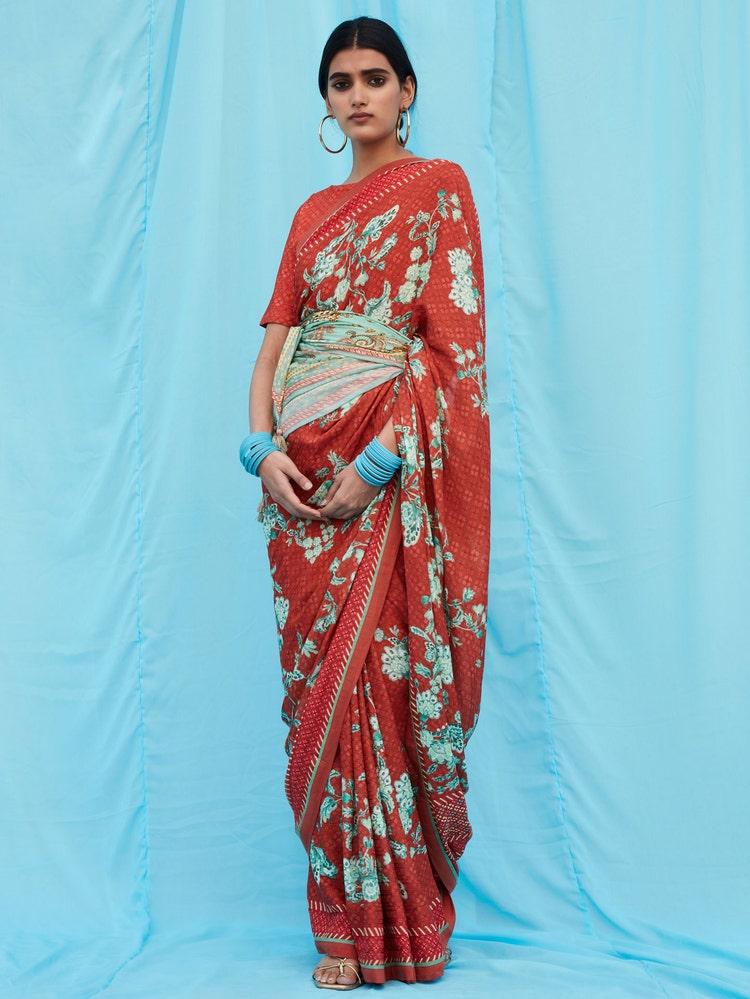 Red Floral Print Saree