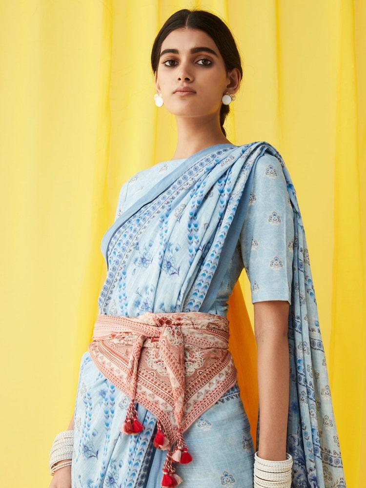 Blue Printed Saree Blouse