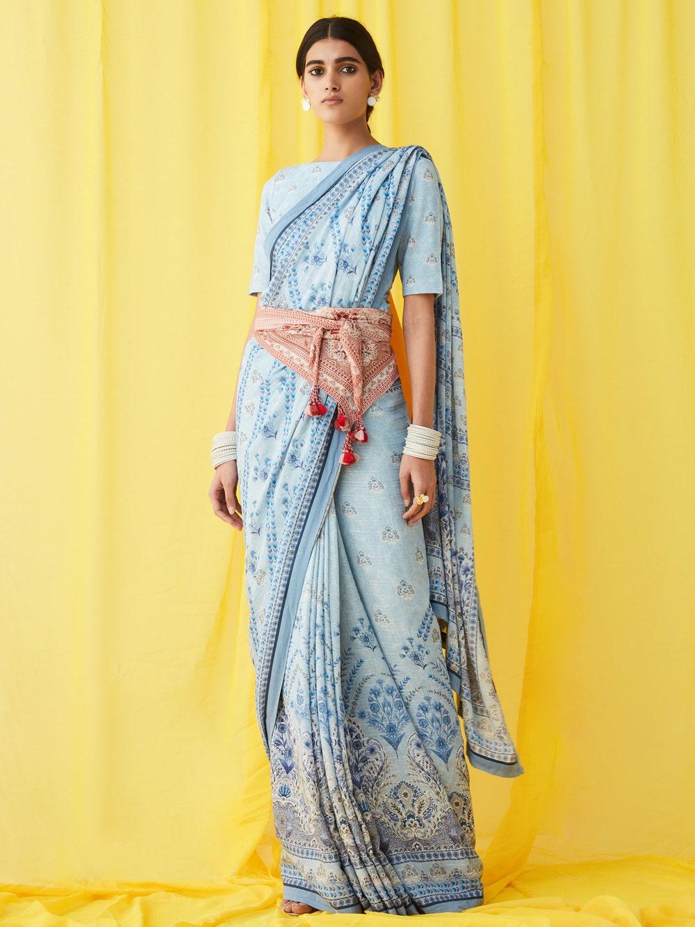 Blue Floral Print Saree