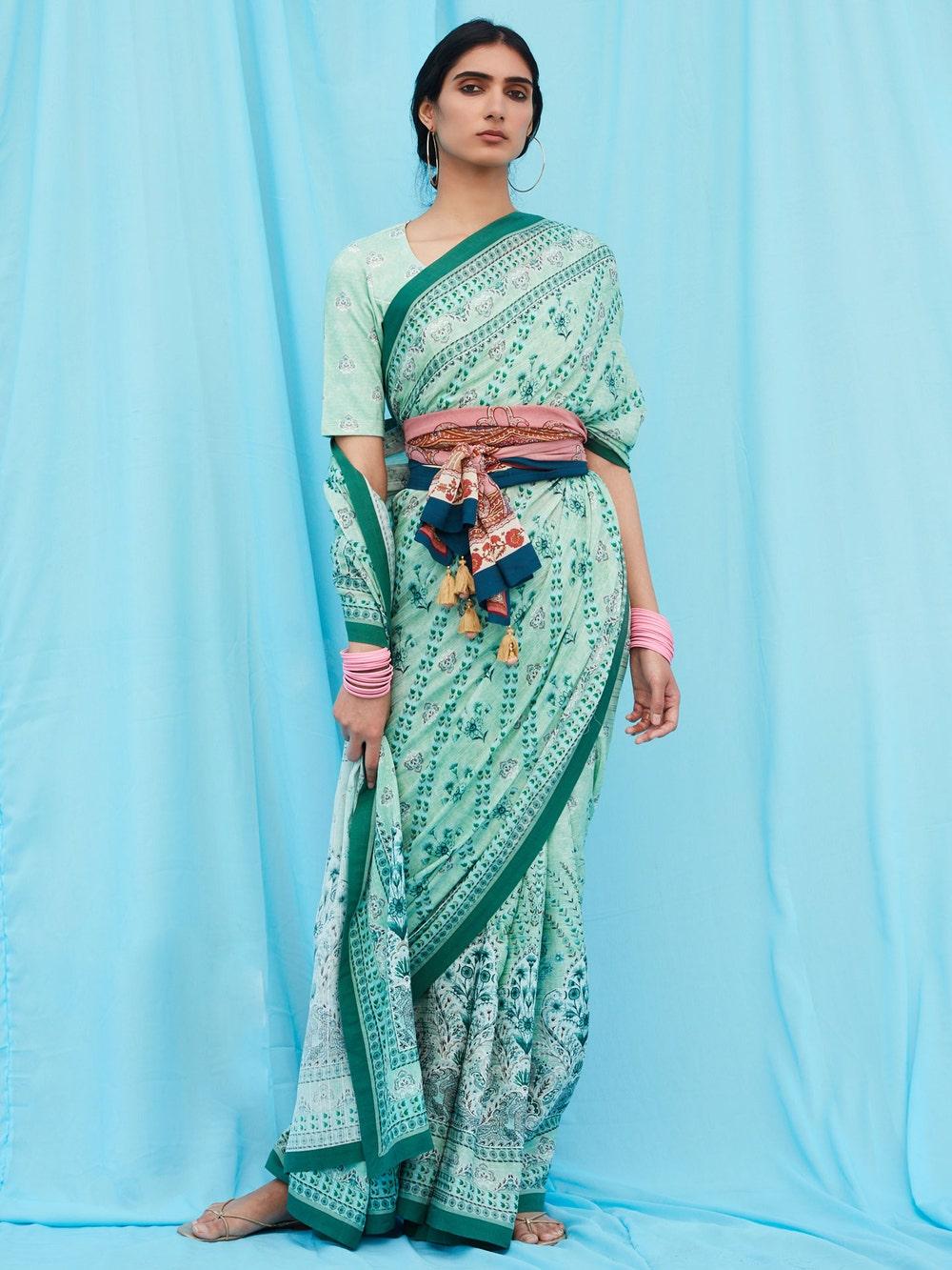 Green Floral Print Saree