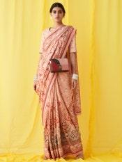 Pink Floral Print Saree