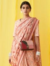Pink Printed Saree Blouse