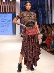 Radhika Apte in a Black Printed Satin Dhoti