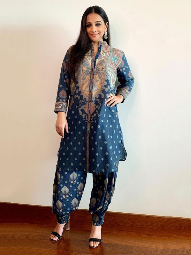Vidya Balan in a Navy Blue Printed Kurti